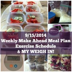 Make Ahead Meal Plan, Exercise Schedule, & My Weekly Weigh In 9/15/14
