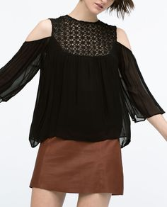 Image 3 of GUIPURE FRONT OFF-SHOULDER BLOUSE from Zara
