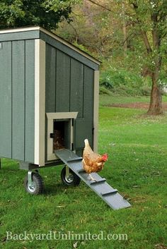 3'x6' Backyard Unlimited Lean-to Style Chicken Coop with Optional Wheels, holds 7-9 chickens--Amish-made and available in California http://www.backyardunlimited.com/chicken-coops.php