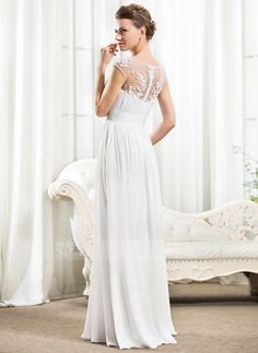 A-Line/Princess Scoop Neck Floor-Length Chiffon Wedding Dress With Ruffle Beading Appliques Lace Sequins (002056526) - JJsHouse