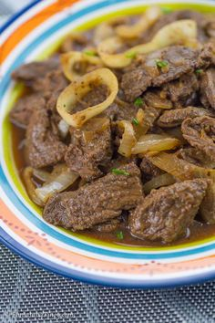 Slow Cooked Beefsteak is a Filipino dish known as bistek tagalog. It is composed of thin slices of beef such as sirloin or flank steak Roshashana Recipes, Entree Recipes, Fish Recipes, Asian Recipes, Crockpot Recipes, Cooking Recipes, Vegetarian Recipes, Recipies, Dinner Recipes
