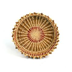 Elaborate Pine Needle Basket Trimmed in Beads