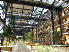 Halle Pajol... First positive energy building in Paris with 2000 solar photovoltaic panels ( 410 000 kWh/year)...Renovation of an old industrial building near Gare du Nord.