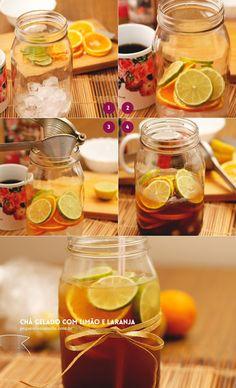 Chá gelado com limão e laranja