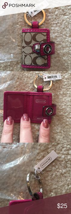 NWT tags coach photo keychain NWT tags coach photo keychain . It holds 2 photos. Magenta pink . Retails for 38.00 Coach Accessories