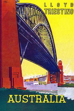 'Australia'. Vintage Italian liner travel poster c.1930s  http://www.vintagevenus.com.au/vintage/reprints/info/TV651.htm