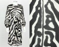 VTG OOAK 1960s 1970s BLACK WHITE ZEBRA ANIMAL PRINT SHEER CHIFFON DRESS SASH S