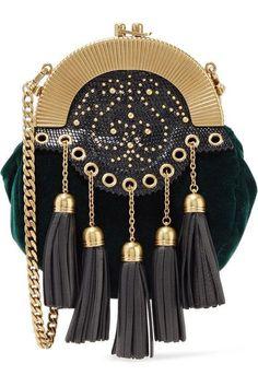 b31bdbb42968 Miu Miu - Embellished textured leather-trimmed velvet clutch