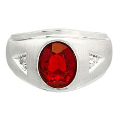 Diamond and Oval Ruby Gemstone Men's White Gold Ring Available Exclusively at Gemologica.com