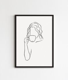 Coffee Punch, Coffee Cup, Morning Coffee, Minimalist Drawing, Minimalist Art, Drawing Stuff, Line Drawing, Coffee Line, Dog Line Art