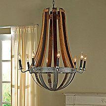 Wine barrel double ring chandelier atom cyclopean made from reclaimed wine barrel stave chandelier aloadofball Gallery