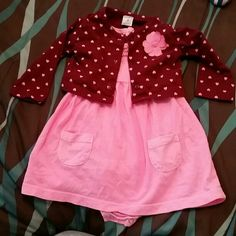 Baby girl pink dress with sweater. Worn once. Size 6 mos