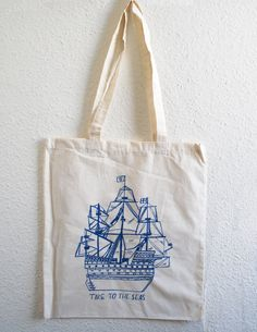 The Seas Natural Tote bag by LizzyStewart on Etsy Cute Canvas 586315a548537