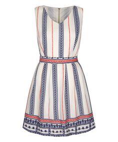 Another great find on #zulily! Cream & Blue Border Stripe Tie-Back Dress #zulilyfinds