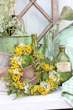 Vibeke Design, Seasonal Decor, Holiday Decor, My Flower, Flowers, Garden Junk, Vintage Bottles, Fresh Green, Shabby Chic Homes