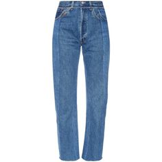Vetements Slim-fit vintage wash cropped jeans ($1,055) ❤ liked on Polyvore featuring jeans, pants, bottoms, trousers, pants/jeans, blue, slim straight leg jeans, high waisted jeans, slim fit jeans and high rise straight leg jeans