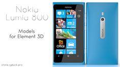Nokia Lumia 800 for Video Copilot's Element 3D. Product Link: http://store.cgduck.pro/element-3d/nokia-lumia-800-e3d.html