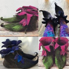 CUSTOM made to order -Elf slippers-pixie shoes- elf shoes-- fairy slippers- fairy shoes-larp- fantasy- fairytale shoes- felted slippers Elf Slippers, Felted Slippers, Pixie, Moldes Halloween, Elf Costume, Grinch Costumes, Larp, Fairy Shoes, Elf Shoes