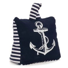 Blue & white door stopper - anchor Size: x x Weight : 1577 g. Style Nautique, Door Stopper, Red Lobster, White Doors, Pink Flamingos, Nautical Theme, Bleu Marine, Grey Stripes, Anchor