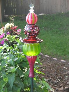 Wow love the colors on this glass garden totem - by Second Glass Garden Art