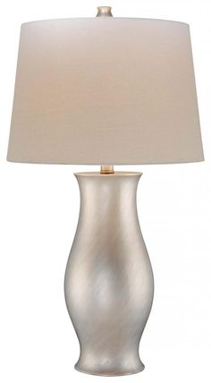 Satin Silver 1 Light 28in. Height Table Lamp with Cream Shade - Minka-Lavery 18003-1