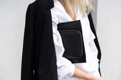 black blazer, white shirt and croc-embossed clutch #style #fashion #work #office #blackandwhite