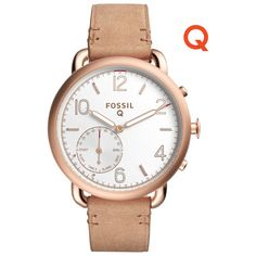 Fossil Q Tailor 40mm Leather Hybrid Smartwatch - Tan/Rose Gold