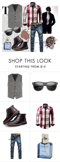 """""""Fashion 101: Vest Casually with Jeans"""" by josehline on Polyvore featuring The Kooples, ZeroUV, Calvin Klein, Diesel, men's fashion and menswear"""