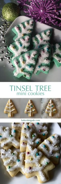 Tiny tree cookies with multi-color dragees.