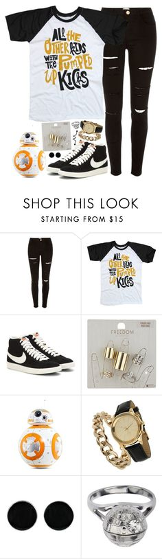 """""""All the other kids with the pumped up kicks."""" by rocketsheep ❤ liked on Polyvore featuring River Island, NIKE, Topshop, Sphero, Miss Selfridge, AeraVida, lyrics, nike, fosterthepeople and BB8"""