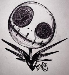 Drawings of Jack Skellington sewing Gothic Drawings, Badass Drawings, Creepy Drawings, Dark Art Drawings, Art Drawings Sketches Simple, Dark Art Illustrations, Tattoo Drawings, Desenhos Tim Burton, Tim Burton Art