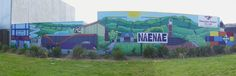 """St Bernadette's, youth group Mural"" 2015. Designed by Ellen, using group's drawings & photos of Naenae.  Painted by Youth group & adult helpers. Site manged by Ellen. Resene Award Winner 2015"