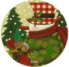 Holly Snowman Ornament by Meiissa Shirley - Love the squirrel.  Add some 3D crystals or something to the tree.  Fun to stitch his hat too!