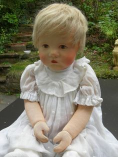 Antike Käthe Kathe Kruse Puppe Baby Du Mein, Stoffkopf, Doll, Poupee, ca 55cm