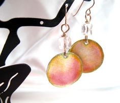Enamel on fine silver earrings with Swarovski by dhicksdesigns