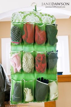 Always losing your mittens or knit hats? Use a shoe organizer so you'll always know where they are.