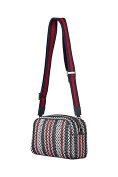 5c042a6100d Just Female Dylan braided handbag in navy, white and red cross body stripe  strap|. PIPE AND ROW