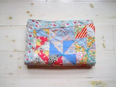 Vintage Feed Sack Baby Quilt . Handmade by WillowMoonVintage, $130.00