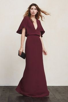 Now this is a damn dress. The Apollo Dress reveals just enough while maintaining its elegant appeal. It's sexy and chic and comfortable all in one package. This is a full length gown with a plunging V neckline and cape sleeves. https://www.thereformation.com/products/apollo-dress-velvet-berry?utm_source=pinterest&utm_medium=organic&utm_campaign=PinterestOwnedPins