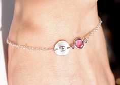 Personalized bracelet October birthstone by AngelicSpark on Etsy, $24.00