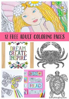 12 Adult Coloring Pa