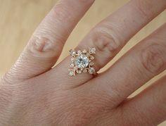 "Aquamarine and Diamond Victorian Engagement Ring Vintage Antique Art Nouveau Art Deco Aqua Blue Pink Flower 14K Rose Gold ""The Fountainhead"""