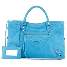 Balenciaga Classic City Lambskin Tote Bag ($1,925) ❤ liked on Polyvore featuring bags, handbags, tote bags, bright blue, studded tote bag, buckle purses, balenciaga purse, tote purse and studded handbags
