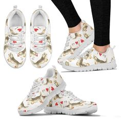 Dandie Dinmont Terrier Pattern Print Sneakers For Women- Express Shipping