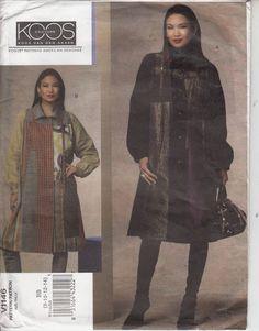 Vogue 1146 Koos Couture Coat Artistic Applique Loose Fit Flared Sew Pattern 8-14 #Vogue #artisticcoat