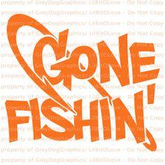 Gone Fishin Vinyl Decal Fish Hook Sticker Fishing River Lake Ocean Fishing Signs, Fishing Quotes, Fishing Trips, Gone Fishing Sign, Bass Fishing, Custom Decals, Vinyl Decals, Window Decals, Grey Dog