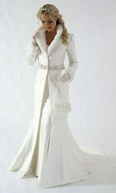 White winter wedding fur dress