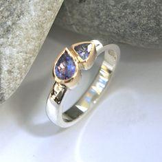 Tanzanite silver and gold ring