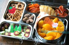 Fresh fruit, veggies, croissant lunch box-  week 20 fun lunchbox ideas - familyfreshmeals.com --