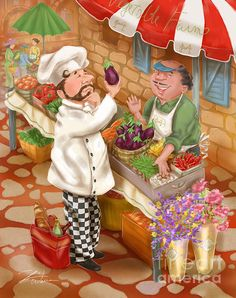 Chef Mixed Media - Chefs Go To Market I by Shari Warren